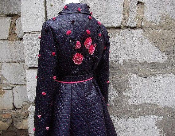 Designer coat for women's Polka dot and flowers