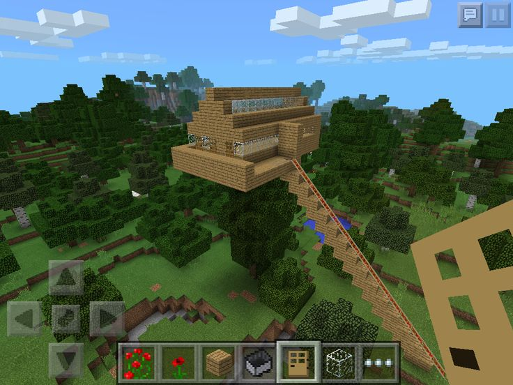 Awesome tree house in minecraft pe 2014 u need to ride a - Casa del arbol minecraft ...
