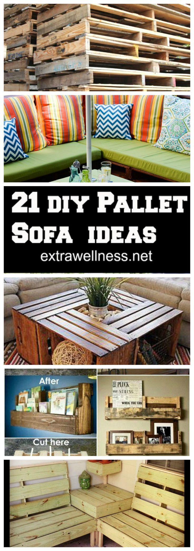 21 Creative DIY Pallet Furniture Hacks :: upcycle your old Pallet into several cozy sofa couch ideas ---->> http://extrawellness.net/diy-pallet-sofa-plan-and-ideas/