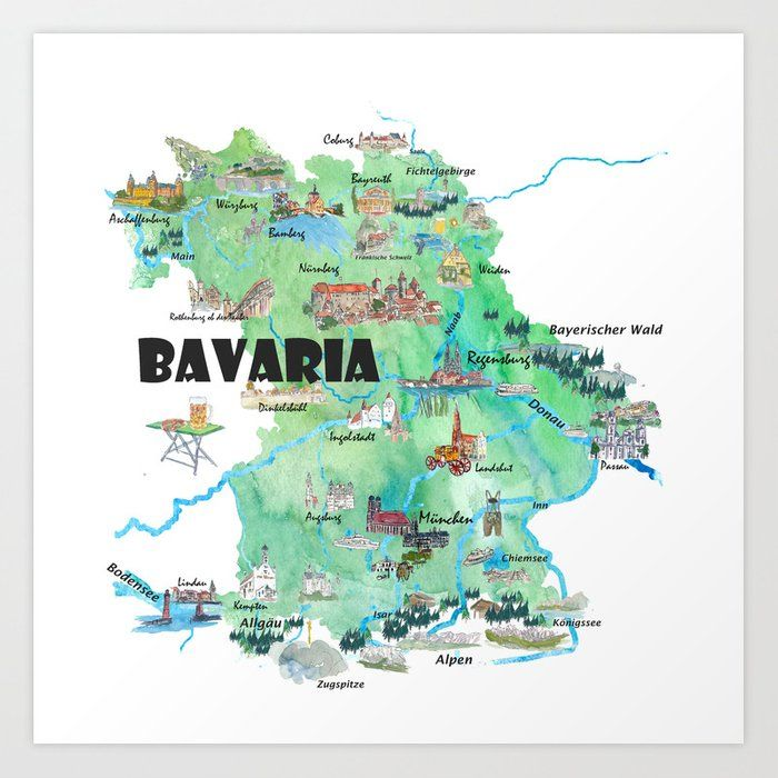 Buy Bavaria Germany Illustrated Travel Poster Map Art Print By