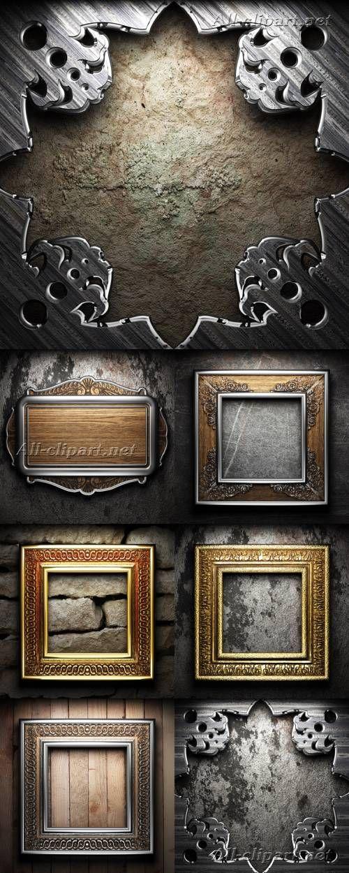 Винтажные рамы на каменной и деревянной стене - фотосток | Vintage Frames