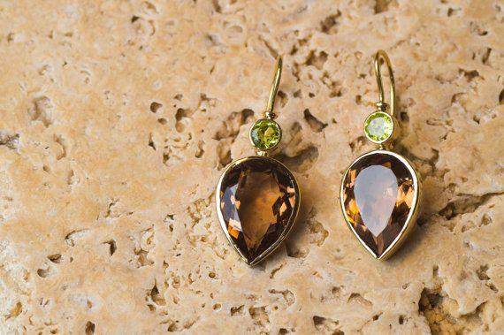 18K Yellow Gold Earrings set with Cognac Color Topaz and Natural Peridot, 18K Yellow Gold Earrings, Pear Topaz Earrings, Handmade Jewelry