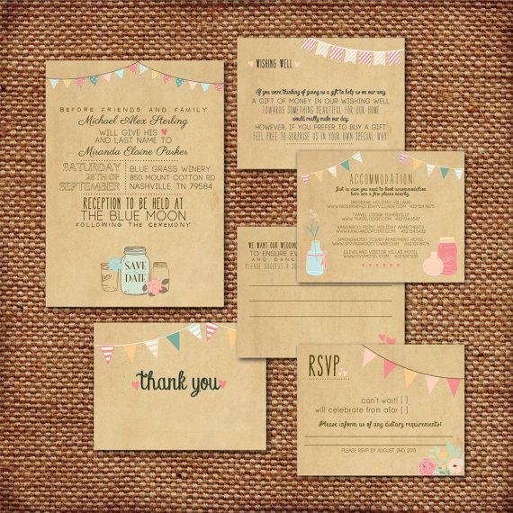 Wedding Invitation Suite Set  Printed Custom DIY by SplashOfSilver, $12.00