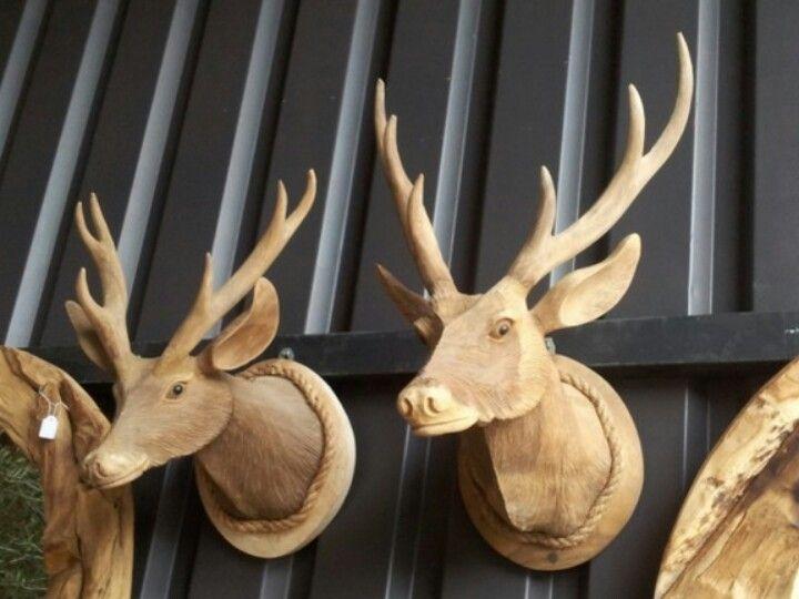 Hertenkop van teakhout interieur pinterest van for Decoratie hertengewei