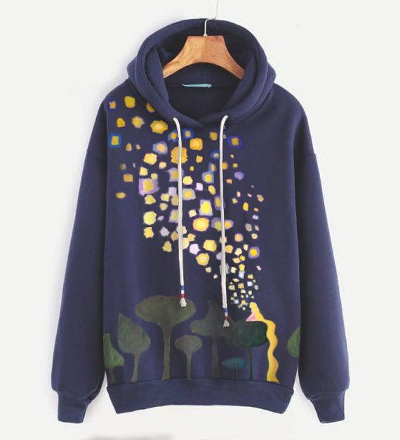 Tangled sweatshirt - Rapunzel's lantern painting - Disney - Navy blue