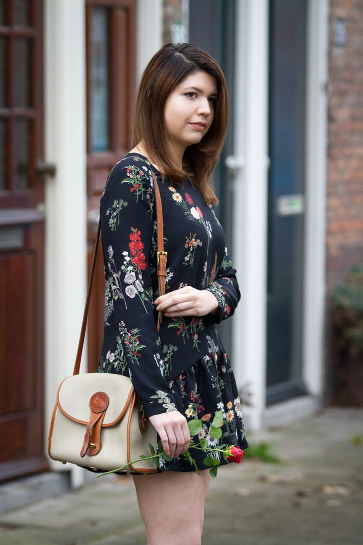 Florals in Winter   click to see this outfit! #style #women #florals #ootd #outfit #roses #zara #winter