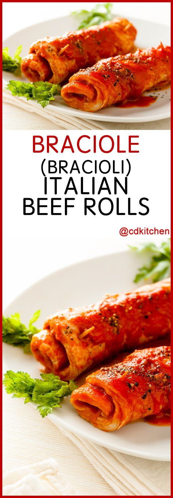 Braciole (Bracioli) Italian Beef Rolls - Recipe is made with plum tomatoes, oregano, yellow onion, beef top round, fresh parsley, fresh basil, pine nuts, raisins, garlic, sage, thyme, prosciutto, Parmesan cheese, salt and pepper, Mozzarella cheese | CDKitchen.com