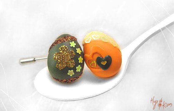 Easter Egg Brooch, Easter Egg Ring, Mini Food Jewelry, Polymer Clay, Orange Brooch, Green Ring, Foodie Gift, Easter Gift, Brooch Kawaii Ring...