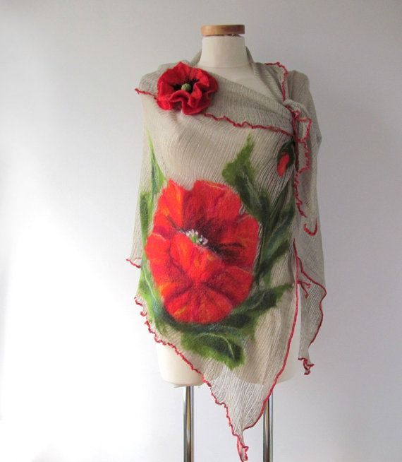 Linen shawl knit jersey felted aplication Poppy flower natural flax #linen #scarf #flax #poppy #flower #felting