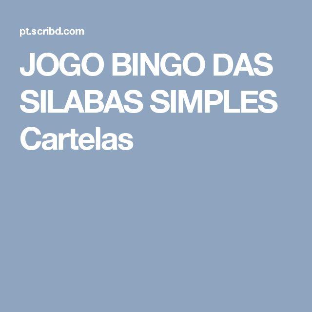 JOGO BINGO DAS SILABAS SIMPLES Cartelas