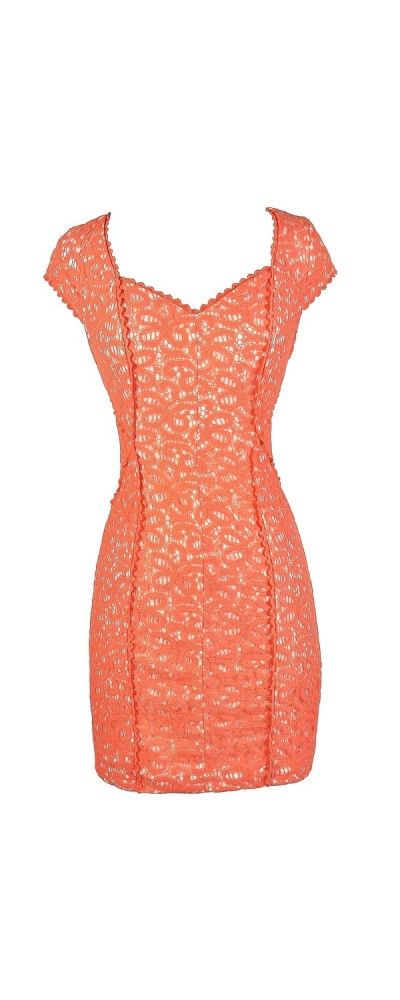 Lace Get Together Capsleeve Pencil Dress in Orange  www.lilyboutique.com