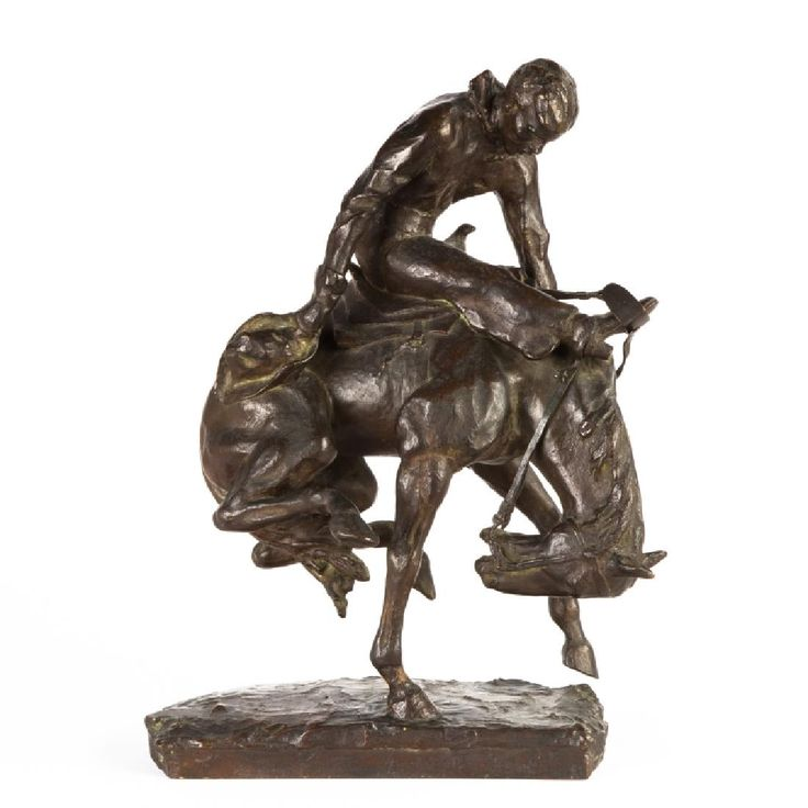 "Gorham Bronze Sculpture of a Bronco Rider. Early 20th century. Gorham Foundries. Ht. 16"" W 12""."