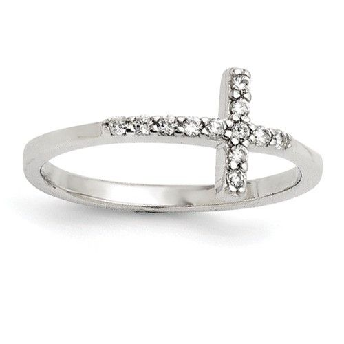 Sterling Silver With CZ Sideways Cross Ring