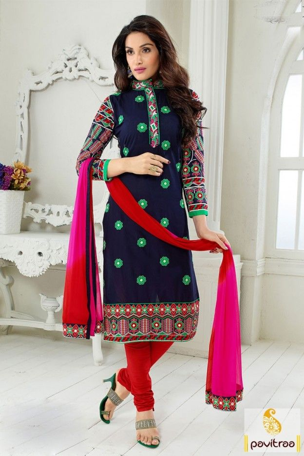 Fancy neck designs and style beautiful dark blue chiffon casual dress for girls at cheapest price in discount offer sale.To get best fancy look drape this suits make you look different from others. #salwarsuit, #designerdress, #designdresses,  #indiandresses,  #dressesonline, #designerpartydresses, #womensdresses, #embroiderydress,  #dressesforwomen,  #churidarsalwarkameez More Info.: http://www.pavitraa.in/store/embroidery-salwar-suit/ Any Query: Call Us:+91-769823404