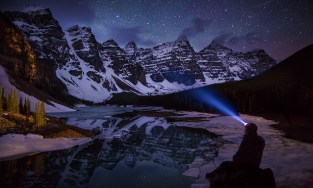 At midnight he visited Moraine Lake in Banff National Park