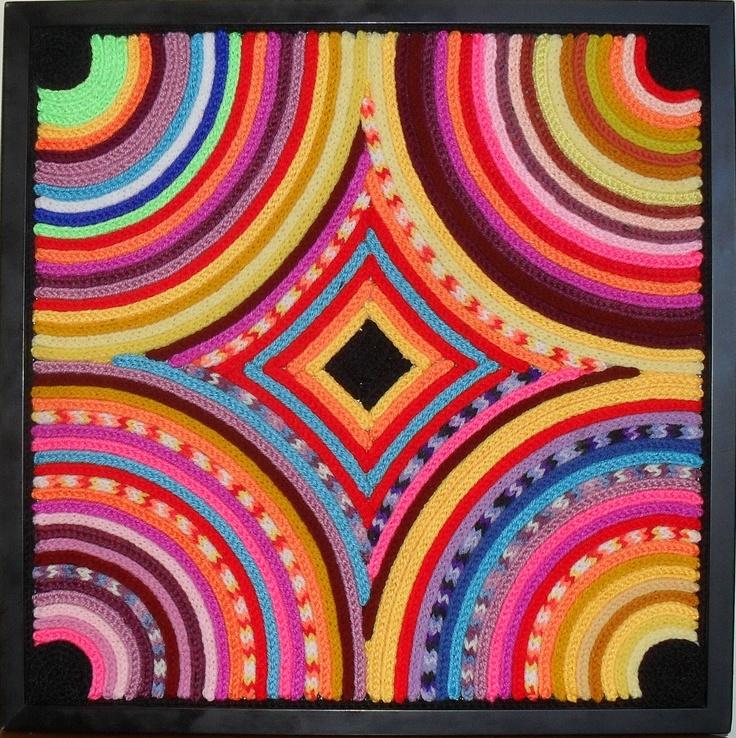"""Mandala"" - 52 x 52 cm. French Knitting glued on board in black frame."