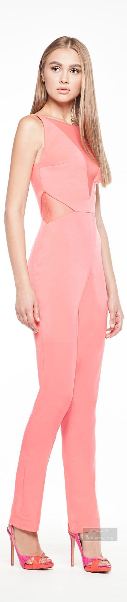 "pink jumpsuit @roressclothes closet ideas women fashion outfit clothing style Georges Hobeika ""GH"", SS 2015:"