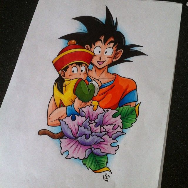 Gohan and goku tattoo design by on for Dragon ball z tattoo ideas