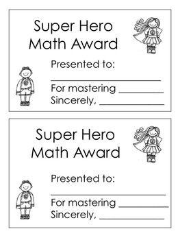Super Hero Math Award