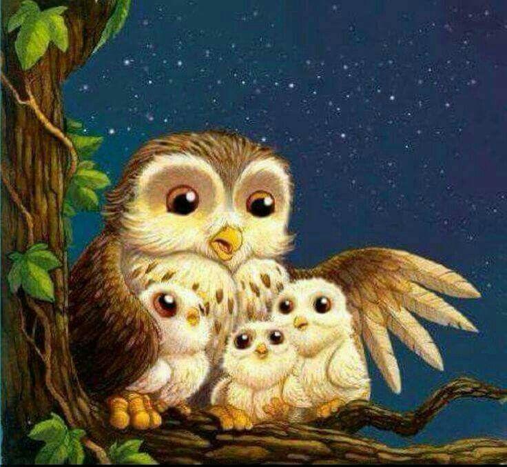 Картинка с спокойной ночи с птенцами