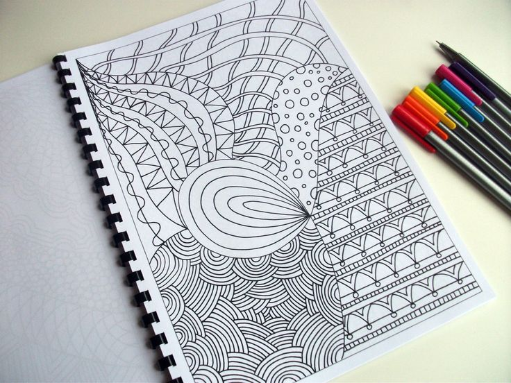 Printable Coloring Page, Zentangle Inspired, Abstract Art Coloring Pattern, Page 22. $2.00, via Etsy.