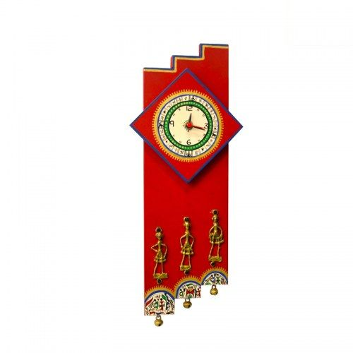 ExclusiveLane Warli Handpainted & Dhokra Work Zigzag Clock 16*7 Inch Red - Clocks by ExclusiveLane for Beeja