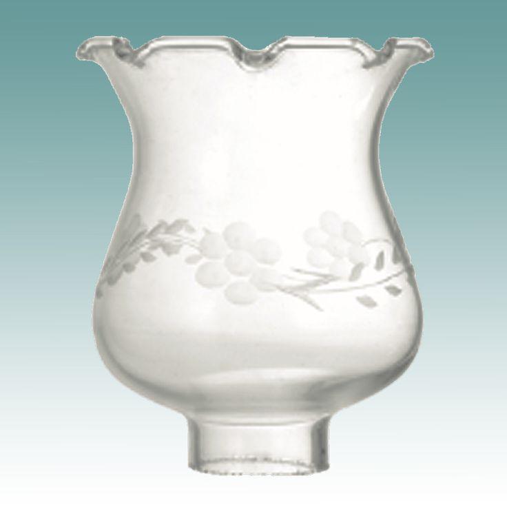 #4569 - Clear Flower Cut Hurricane - Glass Lampshades