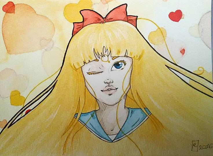 Protected by Venus, the planet of beauty, Guardian of Love, Sailor Venus! Allow me to punish you with the power of love!  #sailormoon #sailorvenus #minakoaino #fanart #watercolor