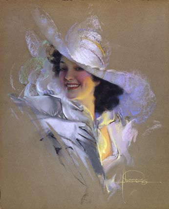 """Rolf Armstrong - """"Jewel In White Chapeau (Jane)"""""""