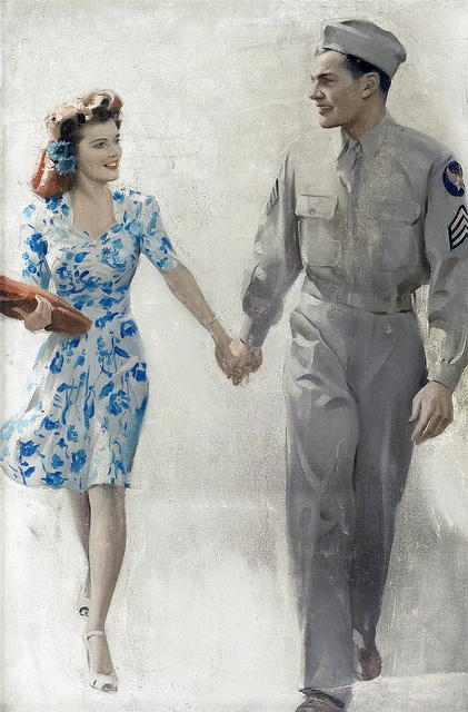Such a lovely, heartwarmingly sweet painting. #vintage #1940s #WW2 #art #couple