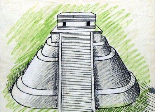 dibujos de piramides mayas en caricatura