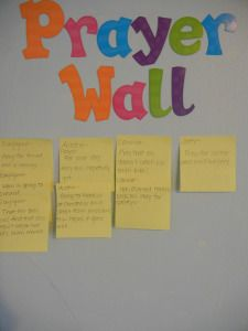 Prayer Wall with different things your family prays for and have each kid pick one to pray for!
