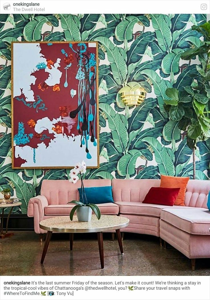Glorious green wallpaper green and pink interior home décor banana leaf print wallpaper