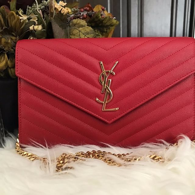 "72fdfd77234c Listed for sale 😍 - Authentic  saintlaurent Medium WOC Wallet On Chain  Monogram Grain de Poudre New Red Gold HW Crossbody (Search seller  ""Martin-Michelle ..."