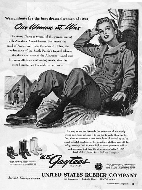 You might be wearing war fatigues, but it doesn't mean you can't be well-dressed! 1940s Gaytees ad