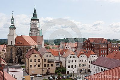 Zlotoryja, Poland - June 16, 2015: Region: Lower Silesia. View of the Church of the Nativity of the Blessed Virgin Mary. The origins of the church date back to the first half of the thirteenth century. The picture was taken from the Tower Kowalska.