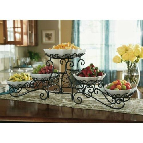 Triple Tiered Gourmet Buffet Server With 5 Scallop Servers & Wrought Iron Stand.. I love this... Want it..