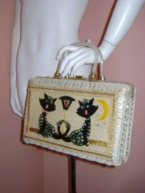 50s purse vintage 1950s handbag SINGING STREET CATS Princess Charming Atlas vinyl wicker novelty purse