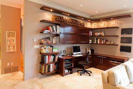 Wood Corner Computer Desk and Wall Storage Furniture in Modern Home Office Accessories Interior Designs Ideas