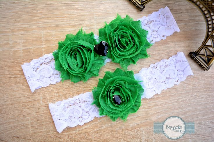 White Lace Garter, Handmade with Emerald Green Flower and Black Rhinestone - by BespokeGarters by BespokeGarters on Etsy