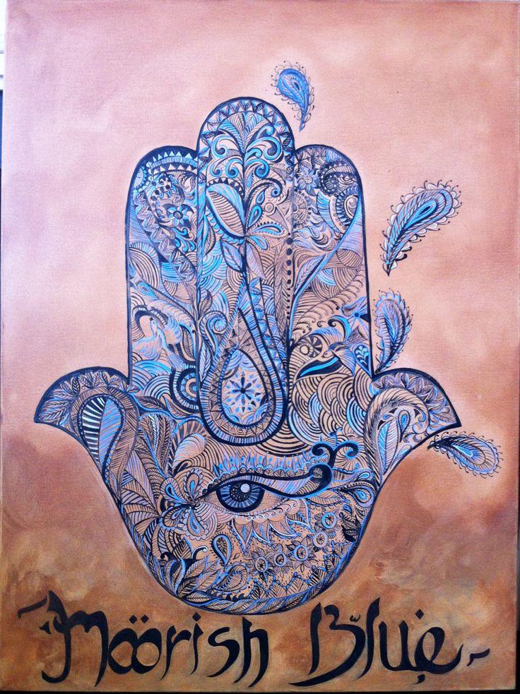 Hamsa painted by Tara Green for Moorish Blue