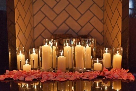candles. candles. candles.Decor, Fireplaces Mantles, Fireplaces Candles, Dining Room Tables, Candles Candles, Candles Display, Candles Fireplaces, Gas Fireplaces, Rose Petals