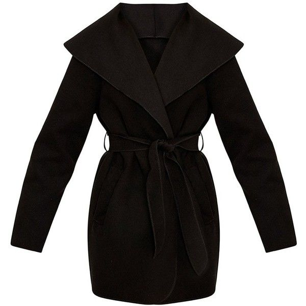 Irinie Black Waterfall Belted Coat (80 BRL) ❤ liked on Polyvore featuring outerwear, coats, coat with belt, waterfall coat, belt coat, belted coat and belted waterfall coat