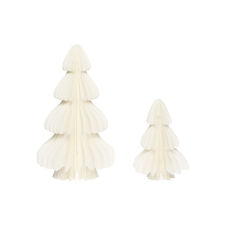 White handfolded paper Christmas trees in a set of 2. Item number: 430312 - Designed by Hübsch