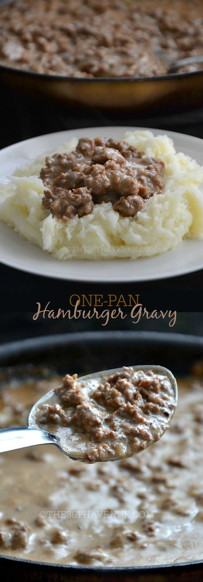 Recipe - One Pan Hamburger Gravy Recipe by the36thavenue.com Main dish, side dish, hamburger: