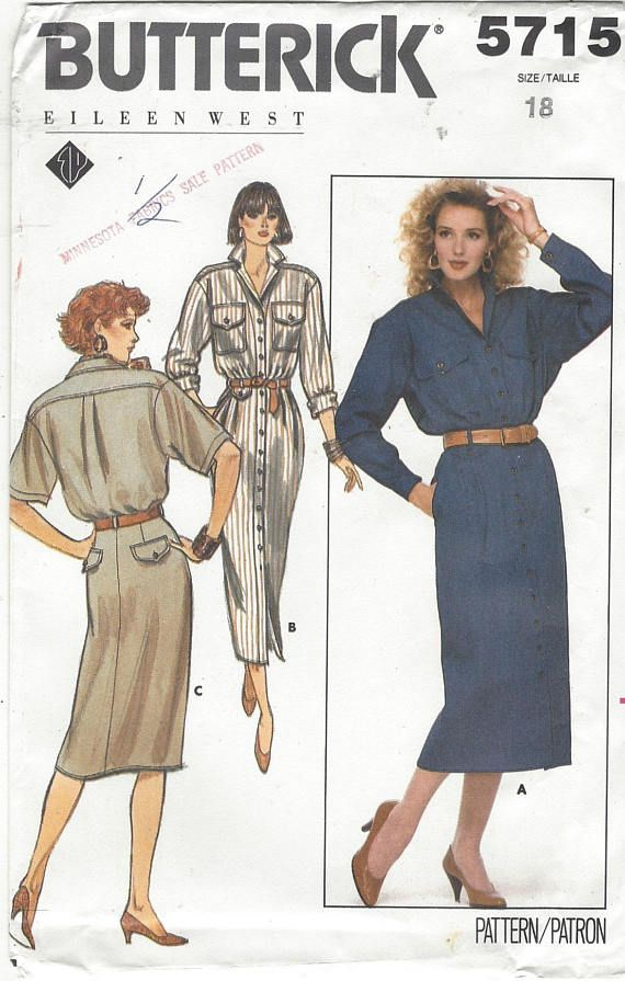 80s Eileen West Womens Shirtdress in 3 Lengths with Sleeve