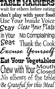 Table Manners, as taught to me by my Southern Mama,Her Mama and the Mama before her.Long list of Southern Mama's