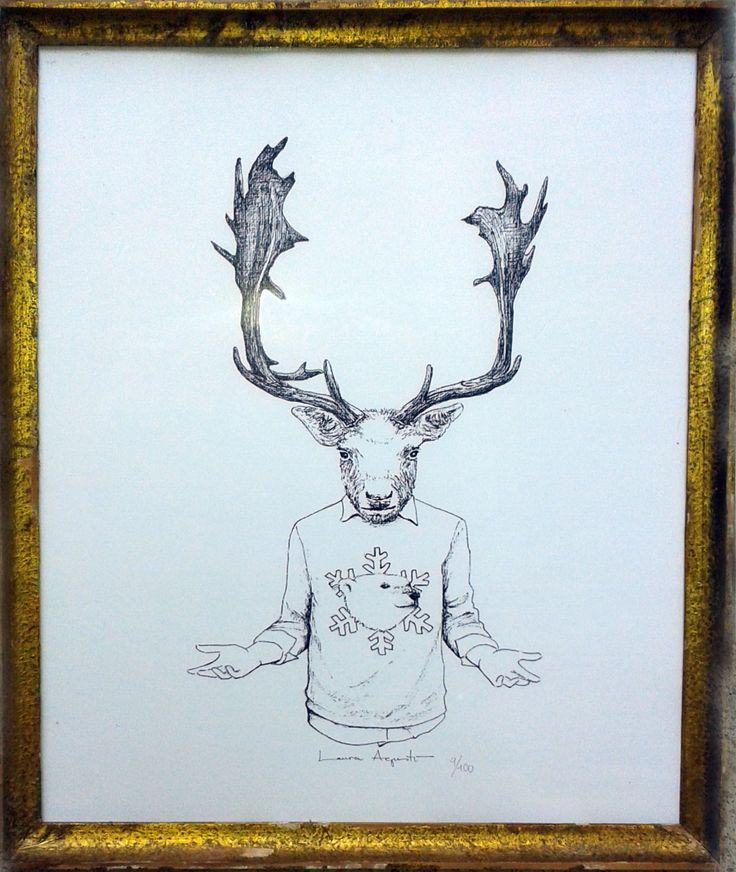 MR. DEERWINTER, de Laura Agustí. Enmarcado 25x20 cm. 60€, sin enmarcar 29,5x21 cm. 20€. Reproducción digital firmada y seriada. #lauraagusti #print #ilustration #ilustracion #dibujo #drawing