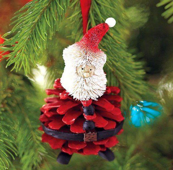 christmas tree ornaments natural supplies pinecone red santa craft