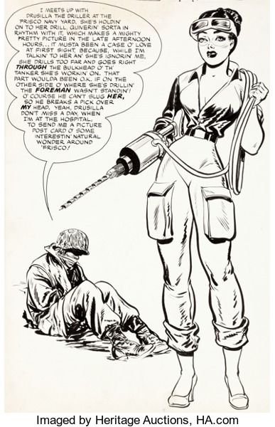 Original Comic Art:Illustrations, Jack Sparling and Bob Powell (attributed) Monty Hall of the U.S.Marines #5 Page 28 Original Art (Toby, 1952)....